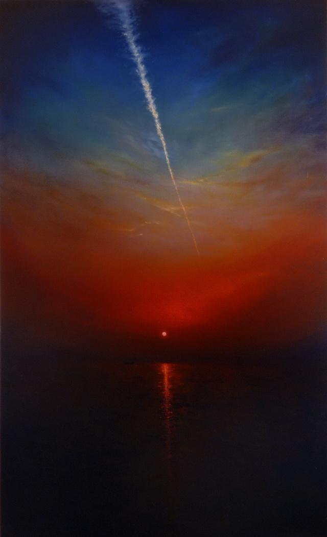 황혼, 비행기구름 145.5x89.4cm Oil on Canvas 2009.jpg