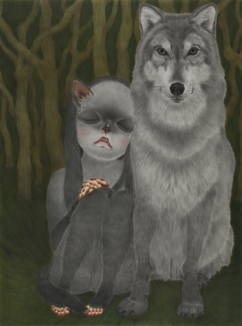 (2)늑대와 오래된 아이 the wolf and an old child conte on daimaru 130.3×97 2013.jpg