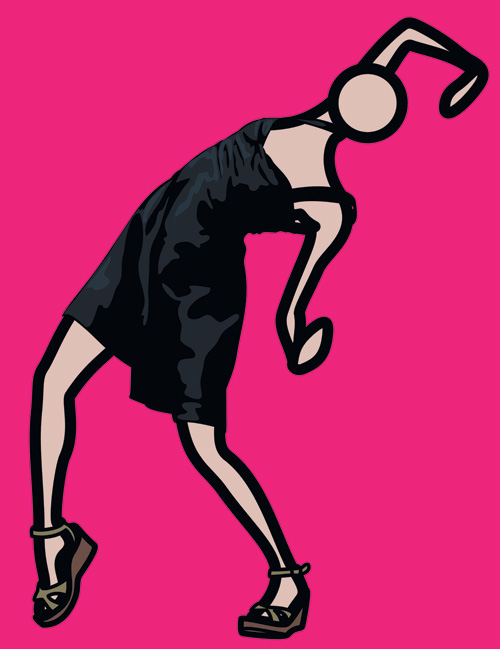 Caterina dancing in black dress. 2009 Vinyl on wooden stretcher.jpg