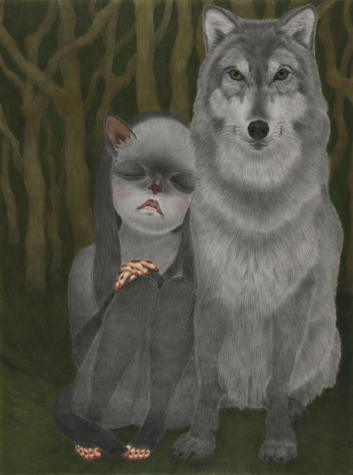 (2)늑대와 오래된 아이 the wolf and an old child conte on daimaru 130.3×97 2013.jpg