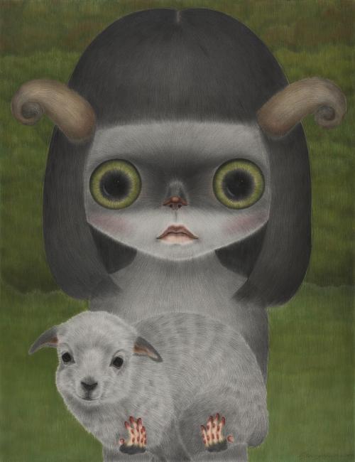 (4)작고 여린 양의 놀이터 the playground of tender and little sheep conte on daimaru 145.5×112.1 2013.jpg